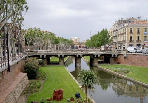 Basse river bridge, Perpignan, France