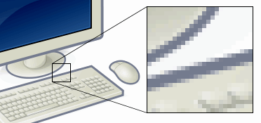 Portion of image enlarged to show individual pixels rendered as small squares.