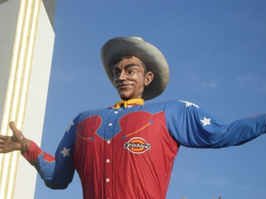 Big Tex at the Texas State Fair, a draw for over two million visitors in October.