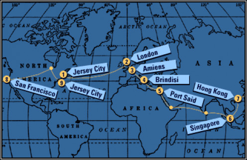 Map of Nellie Bly's Trip