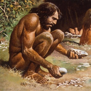 An artist's depiction of an early Homo sapien