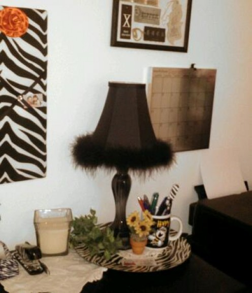 A feather boa softens the room décor and kicks up the attitude of the room.