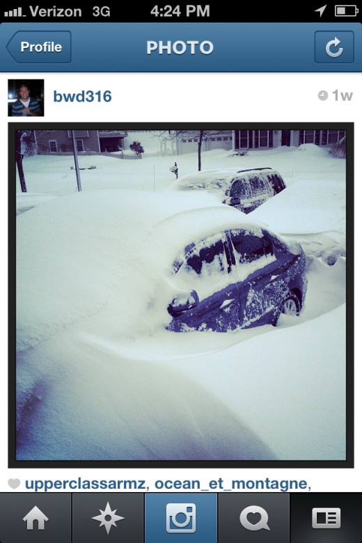 A screenshot of my Instagram picture from the recent Blizzard of 2013! Follow me on Instagram @BWD316
