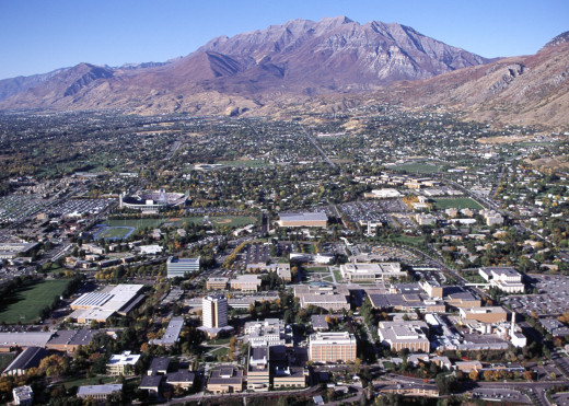 The campus of Brigham Young University, which is owned and operated by the Church in Provo, Utah.  In posting it I fear I have sinned against my fellow Utah State Aggies.