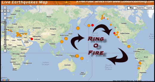 The Ring of Fire shows how the increase in large earthquakes is a daily occurrence.