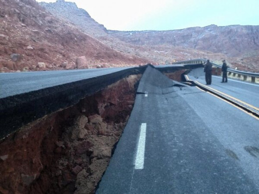 Landslides and sinkholes are causing roadway damage here in the US.