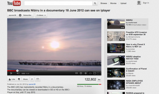 BBC broadcast shows Nibiru Planet X in 2012.