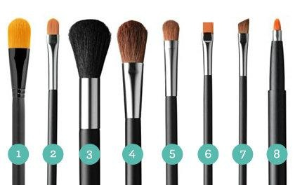 1. Foundation brush 2. Concealer brush 3. Fluffy powder brush 4. Blush brush 5. Small blending brush 6. Flat eyeshadow brush 7. Precision angle brush 8. Lip brush