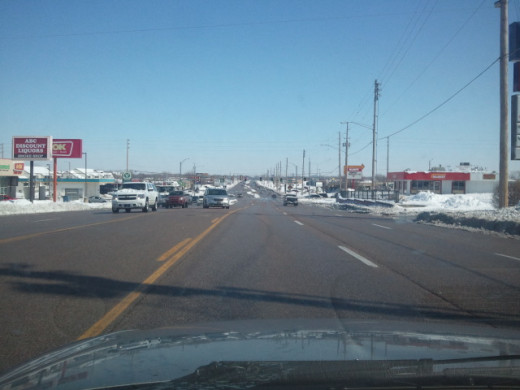 looking east on Central near Ridge...main roads are mostly clear. Wichita, KS 2/22/2013