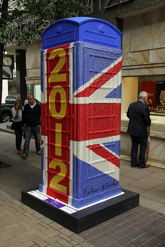 SIr Peter Blake took bling to the next level by bejeweling a phone booth in London with over 400,000 Swarovski flatback crystals. WOW!