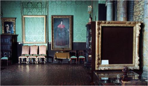Empty frames from Isabella Stewart Gardner Museum Heist