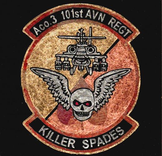 A Co. 3 101st AVN Regt. Killer Spades replica military patch