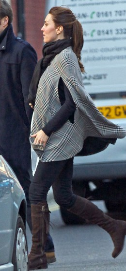 Kate spotted in January wearing a poncho over her baby bump