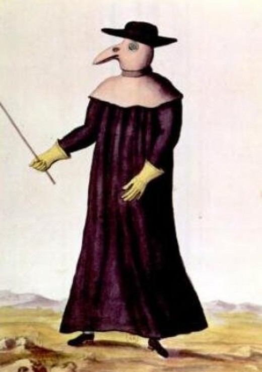 A plague doctor from 1720, wearing dress that was to prevent them becoming infected with the deadly illness