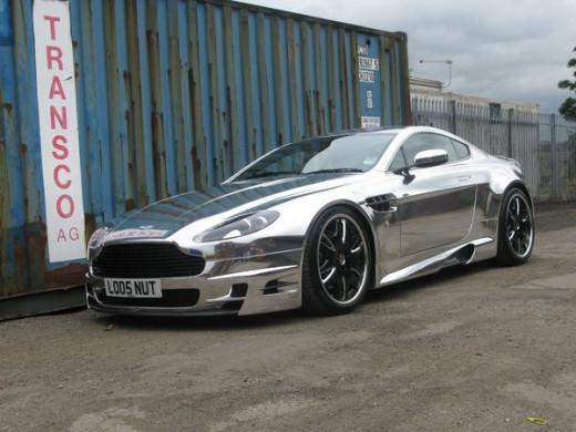 Aston Martin with Chrome Vinyl Wrap
