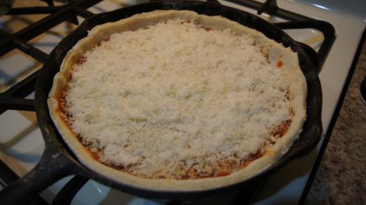 Adding the mozzarella cheese