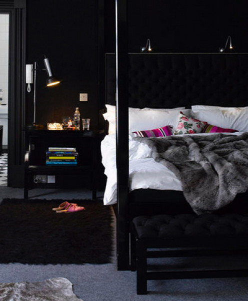 Black on black with small bursts of color read sophisticated and elegant.