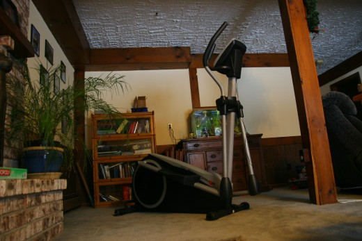 An elliptical machine offers a low-impact aerobic exercise option.