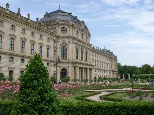 The Wurzburg Residence, palace of the Prince-bishop, and gardens.