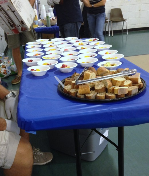 Simple foods such as bread and fruit provide essential vitamins to those in need.