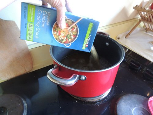 bring stock to a boil...