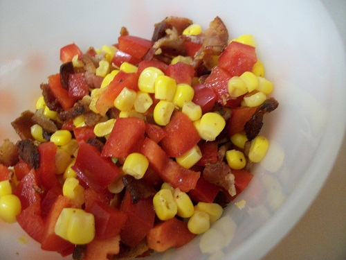 Bacon, corn and bell pepper mixture
