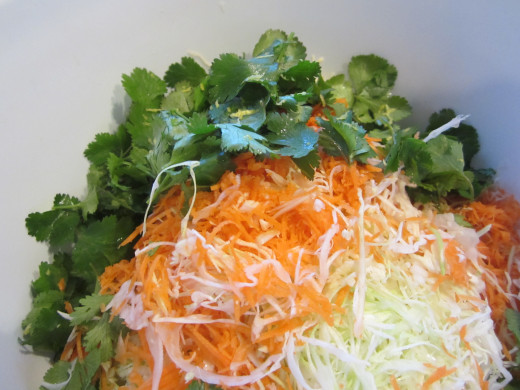 Cut the cabbage into very thin slices. Grate the carrots. Coarsely chop the clintro. Mix in the dressing.