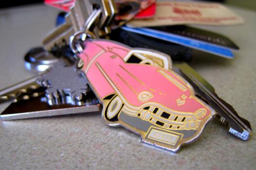 Pink Cadillac Key Chain