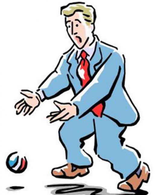 This is a snapshot of a business man that clearly didn't do enough juggling. As a result, he 'dropped the ball' in more ways than one.