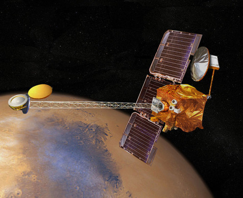 "Odyssey is orbiting around Mars since launch in April 2001. It was named to honor the book and film ""2001: A Space Odyssey"" by Sir Arthur C. Clarke, who first had the idea for communications satellites (comsat)."