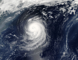 Irene was a Category 1 storm with sustained winds of 150 kilometers per hour (90 miles per hour) and stronger gusts when the Moderate Resolution Imaging Spectroradiometer (MODIS) on NASA's Aqua satellite captured this image on August 15, 2005.