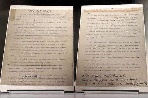The original rules of basketball posted by James Naismith.  The NBA decided it was incomplete and they needed to add about four thousand more.