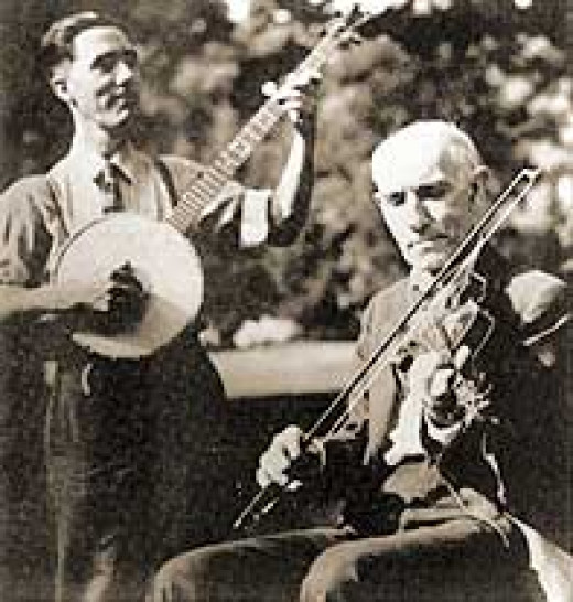 Pa in the later years with myself on the banjo.