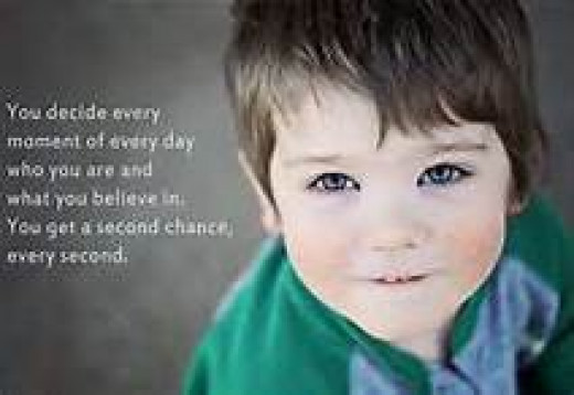 you decide every moment of every day who you are and what you believe in.  You get a second chance every second.