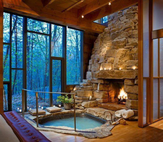 Fireplace Walls of Windows and an Indoor Hot Tub