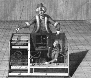 Mechanical Turk gets its name from an 18th century chess-playing automaton that toured Europe. Luminaries of the day, including Napoleon and Ben Franklin, played chess with Turk.  A real person hiding in a secret compartment manipulated the Turk.