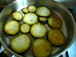 Cook the aubergine in batches