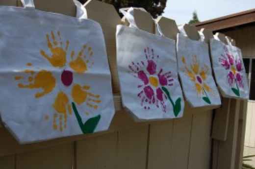 Flower Handprint Tote Bag