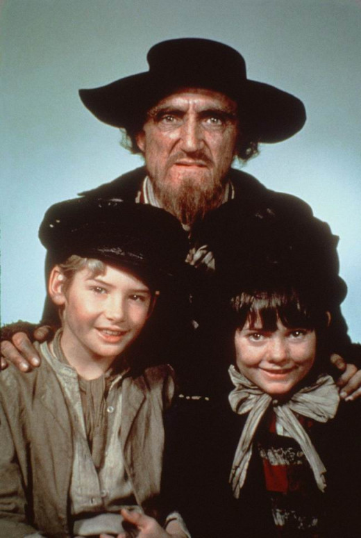 Ron Moody, Mark Lester and Jack Wild in Oliver! (1968)