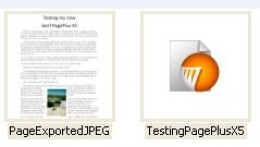 """Screenshot showing the saved text-photo image file and the regular PagePlus """"paper"""" work file that are both on the disk"""