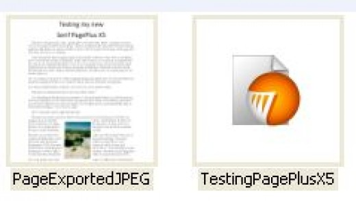 "Screenshot showing the saved text-photo image file and the regular PagePlus ""paper"" work file that are both on the disk"
