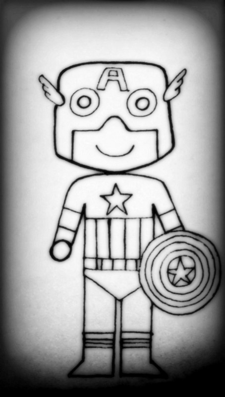 Outlining the Captain America pencil sketch