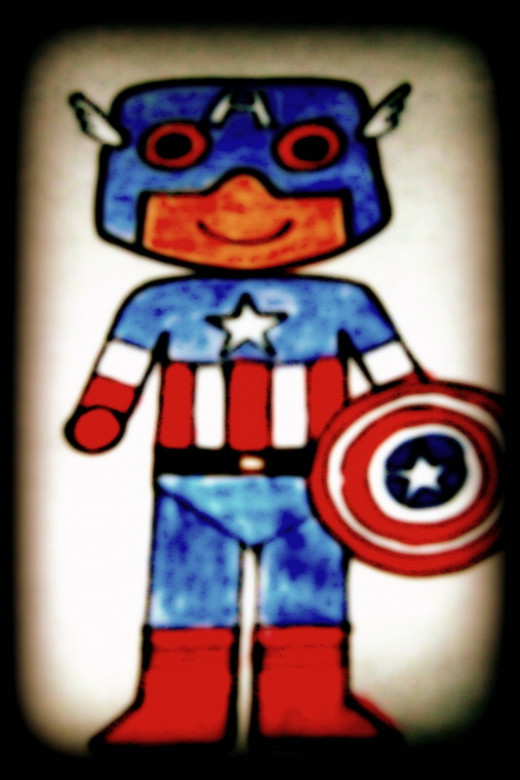 Crayoned kid Captain America's sketch