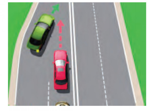 Merging into another lane.