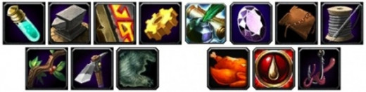 A collection of each of the profession icons