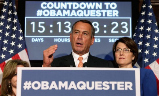 "House Speaker Boehner speaking about the ""Obamaquester,"" a nickname for the Sequester, which points to blaming President Obama."