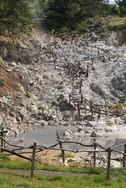 Las Hornillas Crater, a place where you can walk around and view steam vents, bathe in volcanic mud and swim in the pools.  You can also take a tractor or horse tour from there to a water falls, shown below.