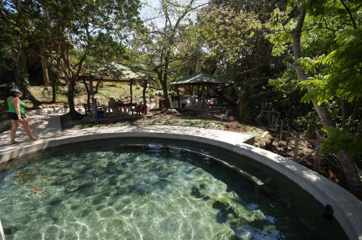 A soaking hot springs pool at El Guyacán.  There are a total of about seven of these on site.  And you can choose a site with shade.
