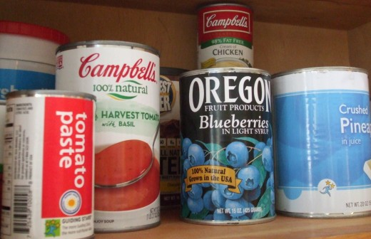 Ordinary food cans in the pantry.