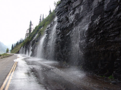Water running onto the Sun Road in the Spring